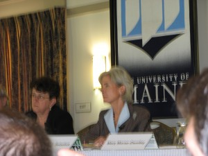 Secretary Kathleen Sebelius, HHS, addresses audience at Orono Maine meeting
